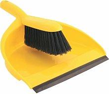 Plastic Dustpan & Stiff Brush Set Yellow - Cotswold