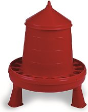 Plastic Poultry Feeder With Legs (8kg) (Red) - Gaun