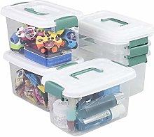 Plastic Storage bin with Green Handle, 5 Quart