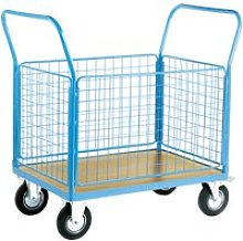 Platform Truck With Four Mesh Sides (500kg Capacity), Aqua, Free Standard Delivery