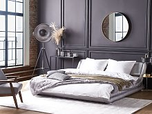Platform Waterbed Silver Faux Leather Upholstered