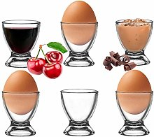 Platinux Egg Cup Set Glass Egg Holder Breakfast