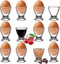 Platinux Egg Cup Set of 12 Glass Egg Stand Egg