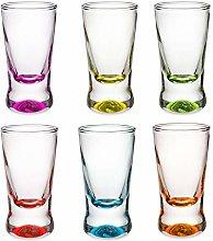 PLATINUX Shot Glasses Set of 6 Colourful Shot