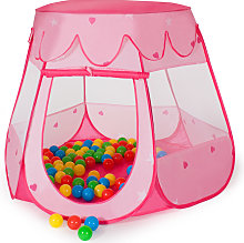 Play tent with 100 balls for kids - pink