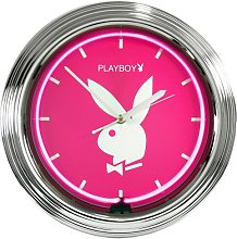Playboy Neon Clock, Pink and White