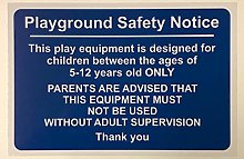 Playground safety notice. This equipment is