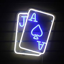 Playing Cards Neon Signs Light Led Neon Blue White