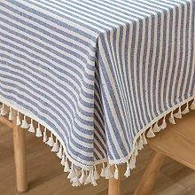 Plenmor Cotton Linen Table Cloth Stripe Tassel