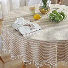 Plenmor Cotton Linen Tablecloth for Round Table