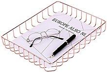 PLINRISE Rose Gold Desk Tray, Wire Metal File