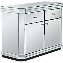 Plinth Mirrored Ready Assembled Compact Sideboard