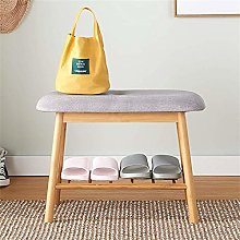 PLLP Bamboo Shoe Rack Double Shoe Bench Modern