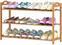 PLLP Bamboo Solid Wood Simple Folding Shoe Rack
