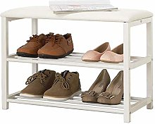 PLLP Change Shoe Bench Padded Shoe Rack Metal