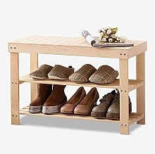 PLLP Multi-Layer Shoe Rack Solid Wood Shoe Bench