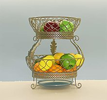 PLLXY 2 Tiers Stand Fruit Plate,metal Wire