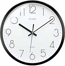 Plumeet 12-Inch Non-Ticking Silent Wall Clock with