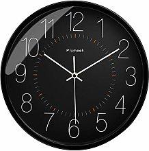Plumeet Silent Wall Clock, 12 Inch Non-Ticking