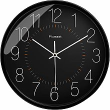 Plumeet Silent Wall Clock - 12 Inches Non-Ticking