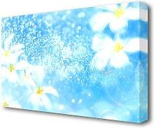Plumeria Blue Flowers Canvas Print Wall Art East