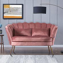Plush Velvet Scalloped Shell Lotus 2 Seater Sofa,