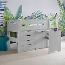 Pluto Dove Grey Bunk Bed With Chest Of Drawers And