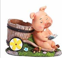 Plztou Cartoon Pig Pen Holder Pencil Pot Cup