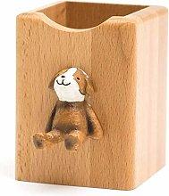 Plztou Pencil pot holder Solid Wood Pen Holder