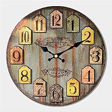 PMWLKJ Vintage Dishes Design Large Wall Clock