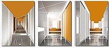 PO-decor wall art Orange Geometric Building Wall