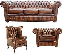Pocola Chesterfield 3 Piece Leather Sofa Set