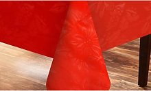Poinsettia Red Embossed Tablecloth
