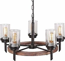 Pointhx Disc Solid Wood Rustic Chandelier Wood