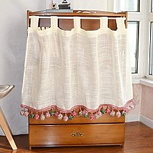 POIT Net curtain bistro curtain with tassels for kitchen, cabinet, cafe, bathroom, cotton and linen small window short curtain
