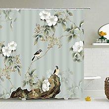 POKUJ Shower curtainChinese Style Flower Bird