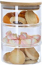 Polai 3-Tier Stackable Glass Jars Candy Cookie