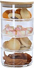 Polai 4-Tier Stackable Glass Jars Candy Cookie