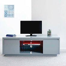 Polar High Gloss Grey TV Stand 2 Door Cabinet LED