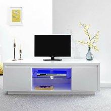 Polar High Gloss White TV Stand 2 Door Cabinet LED