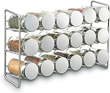 Polder 18-Jar Compact Spice Rack, Silver, 1 - Pack
