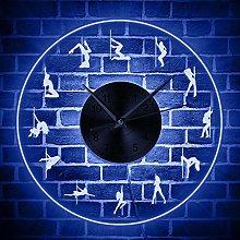 Pole Dancing LED Lighting Wall Clock Girl Dancer