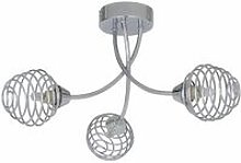 Polished Chrome 3 Light Fitting with Metal Spiral