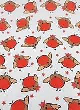 Polycotton Fabric - Christmas Cheer Robins -
