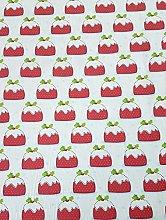 Polycotton Fabric - Christmas Puddings- Fabric