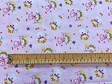 Polycotton Fabric - Fairy Princess Print on Pink -