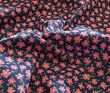 Polycotton Fabric - Navy Blue & Pink Ditsy Floral