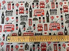 Polycotton Fabric - Novelty London Print on Grey -