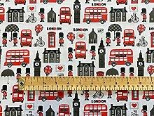 Polycotton Fabric - Novelty London Print on White