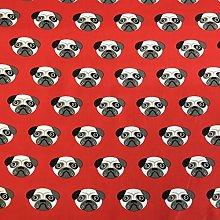 Polycotton Fabric - Pug Dog Design - Fabric Craft